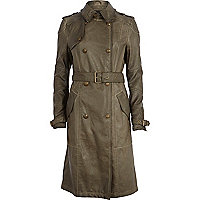 Khaki leather-look trench coat