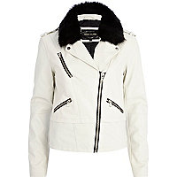 Cream faux fur collar biker jacket