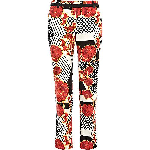 Orange oriental print smart trousers