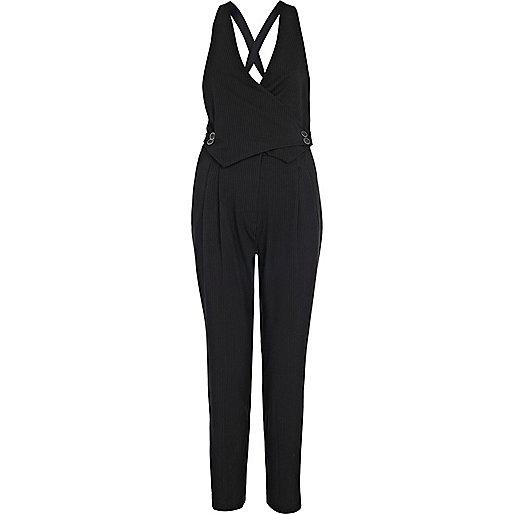 Black pinstripe smart waistcoat jumpsuit