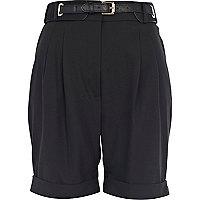 Black smart high waisted shorts