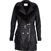 Black faux fur trim biker coat