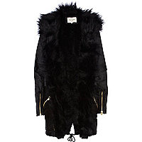 Black faux fur front parka jacket