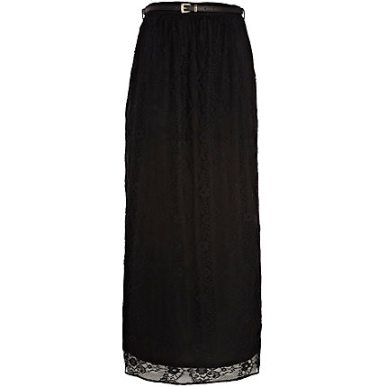 Black lace belted maxi skirt