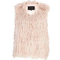 Light pink Mongolian fur gilet