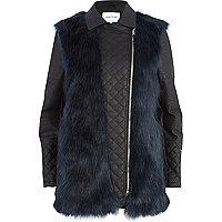Blue faux fur panel quilted biker jacket