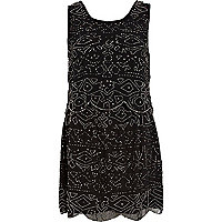 Black aztec beaded shift dress