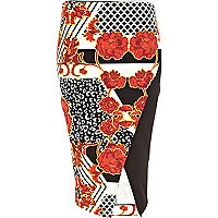 Orange oriental leopard print wrap skirt