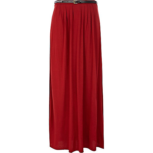 Red belted side split maxi skirt