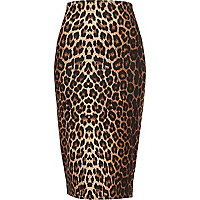 Brown leopard print scuba pencil skirt