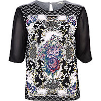 Black oriental embellished t-shirt