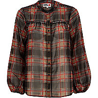 Black Chelsea Girl tartan blouse