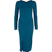 Teal split hem column dress