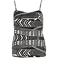 Black and white tribal print cami top