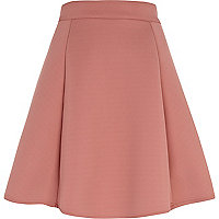 Light pink bonded skater skirt