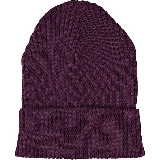 Dark purple rib beanie hat