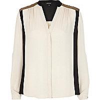 Cream colour block collarless blouse