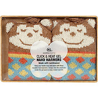 Brown knitted monkey hand warmers
