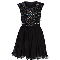 Black sequin embellished prom dress