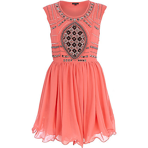 Orange sequin embellished prom dress