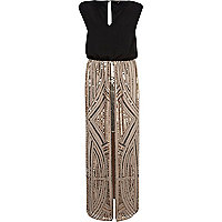 Beige sequin split front 2 in 1 maxi dress