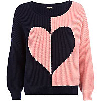 Navy rib colour block heart jumper