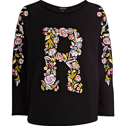 Black R floral embroidered sweatshirt