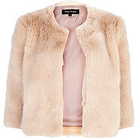 Light pink cropped faux fur coat