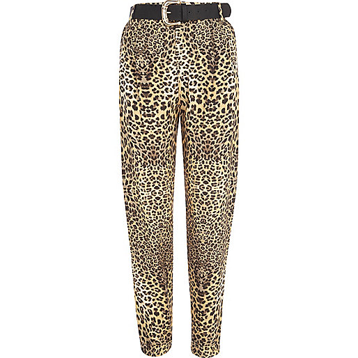 Brown animal print belted trousers