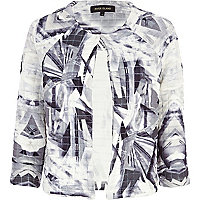 Grey abstract print quilted cocoon jacket
