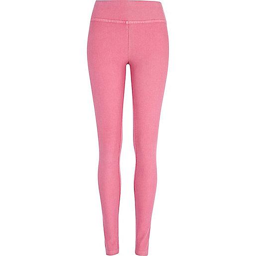 Pink high waisted denim-look leggings