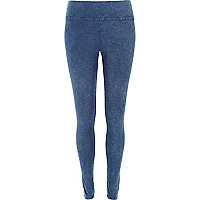 Blue acid wash denim-look leggings