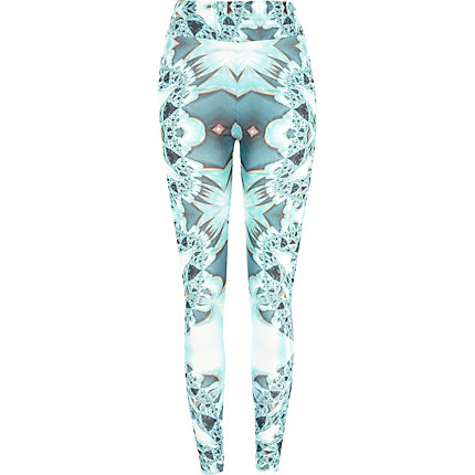 Green kaleidoscope print leggings