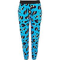 Blue graphic leopard print joggers