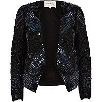 Blue sequin embellished jacket