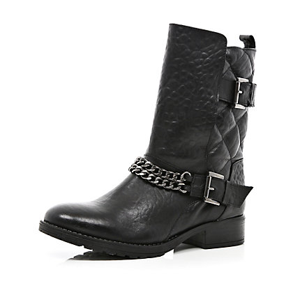 Black quilted faux fur lined biker boots