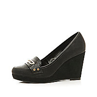 Black metal trim loafer wedges