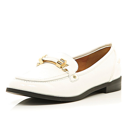 White metal trim loafers