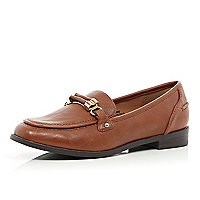 Light brown metal trim loafers