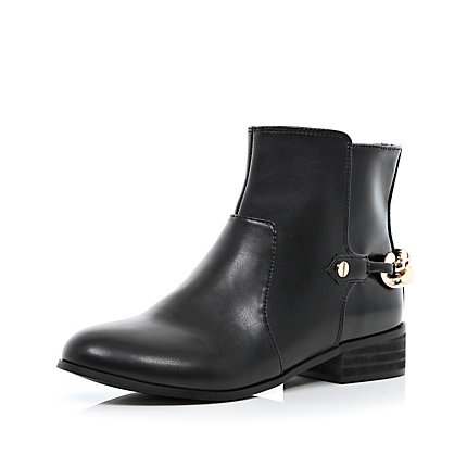 Black chain back ankle boots