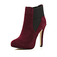 Dark red elastic trim stiletto boots