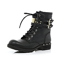 Black buckle lace up boots