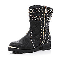 Black diamante studded biker boots