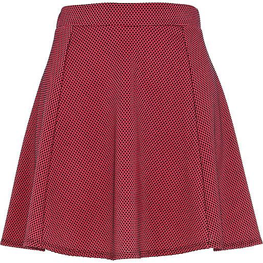 Pink contrast polka dot skater skirt