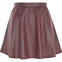 Dark purple coated skater skirt