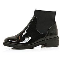 Black high shine scuba sock ankle boots