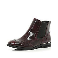 Dark red brogue Chelsea boots