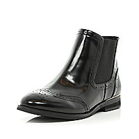 Black patent brogue Chelsea boots