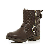 Dark brown quilted biker boots
