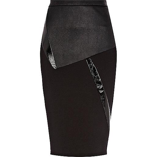 Black abstract panel scuba pencil skirt